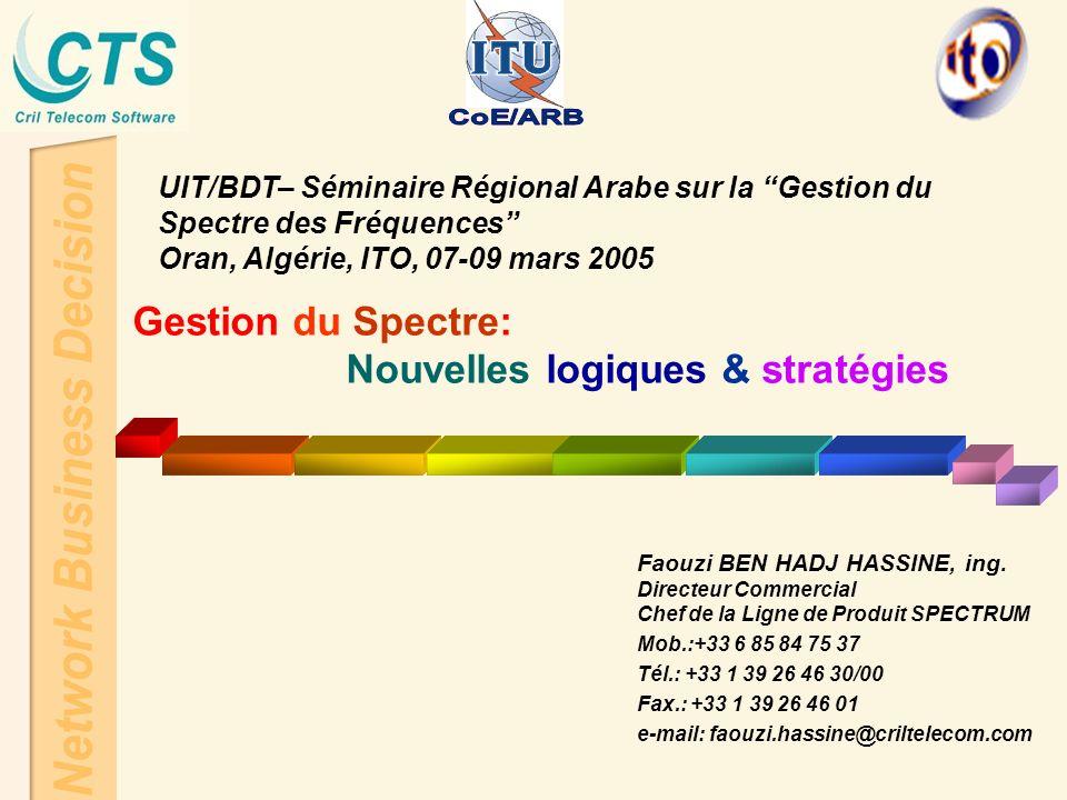 UIT/BDT– Séminaire Régional Arabe sur la Gestion du Spectre des Fréquences Oran, Algérie, ITO, 07-09 mars 2005 Gestion du Spectre: Nouvelles logiques