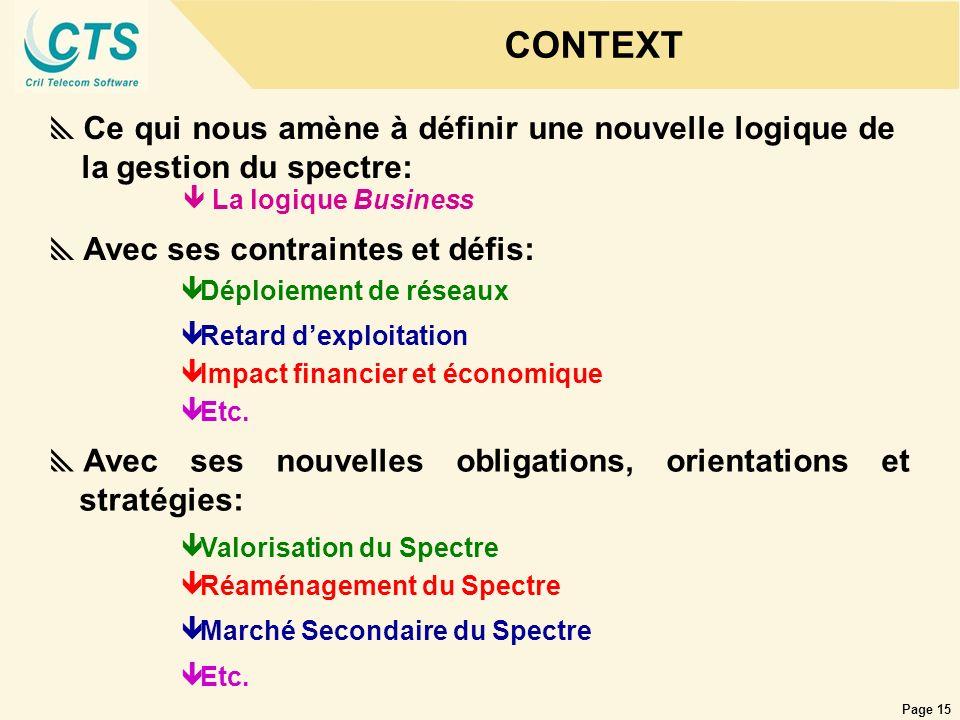 Page 15 CONTEXT Ce qui nous amène à définir une nouvelle logique de la gestion du spectre: êLa logique Business Avec ses contraintes et défis: ê Impac