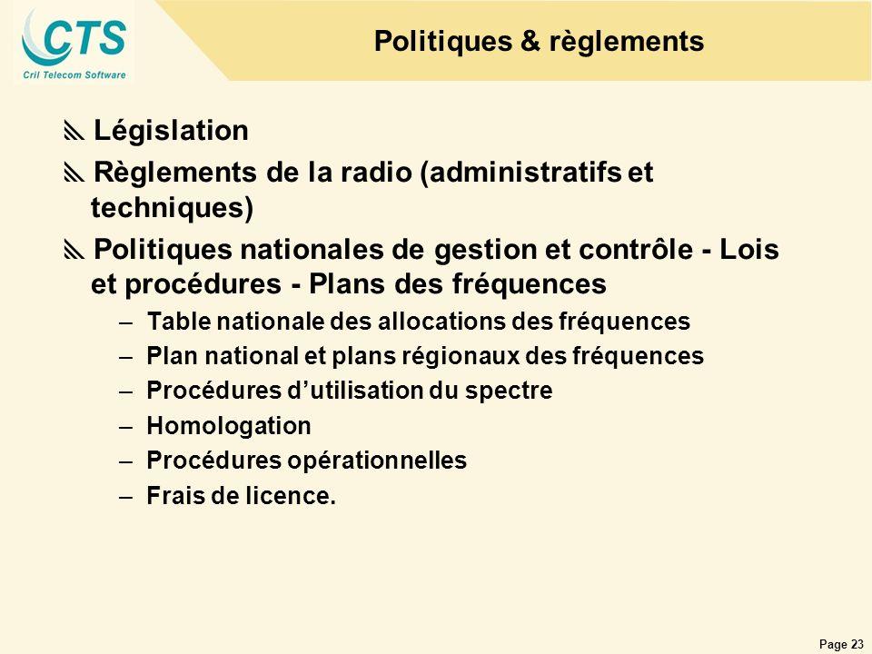 Page 23 Politiques & règlements Législation Règlements de la radio (administratifs et techniques) Politiques nationales de gestion et contrôle - Lois
