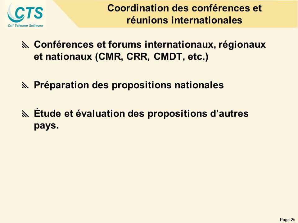 Page 25 Coordination des conférences et réunions internationales Conférences et forums internationaux, régionaux et nationaux (CMR, CRR, CMDT, etc.) P
