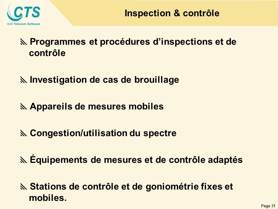 Page 31 Inspection & contrôle Programmes et procédures dinspections et de contrôle Investigation de cas de brouillage Appareils de mesures mobiles Con