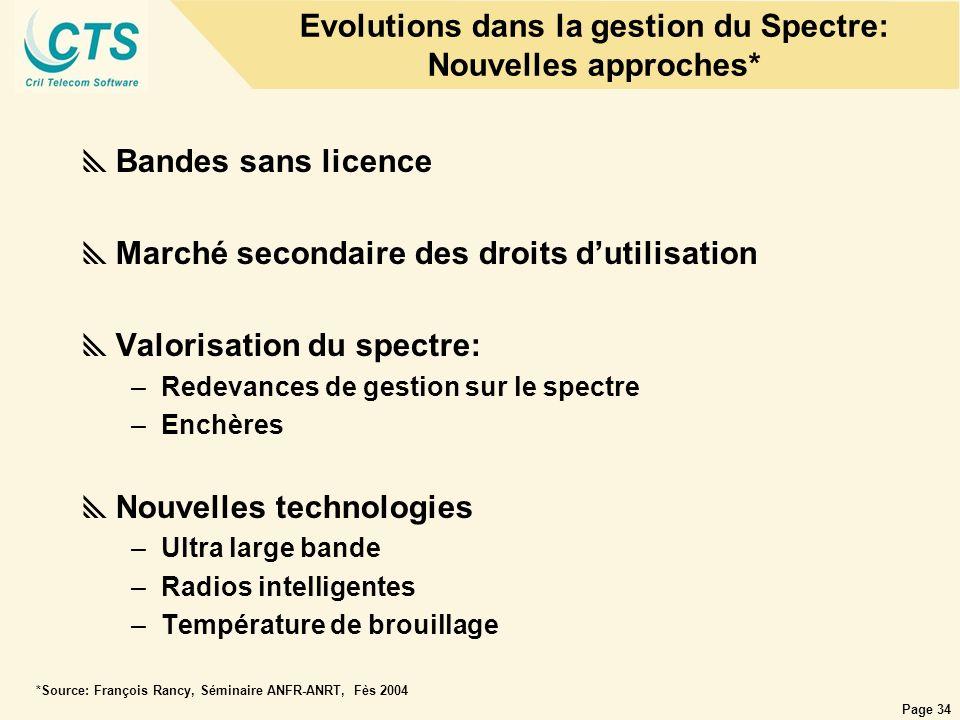 Page 34 Evolutions dans la gestion du Spectre: Nouvelles approches* Bandes sans licence Marché secondaire des droits dutilisation Valorisation du spec