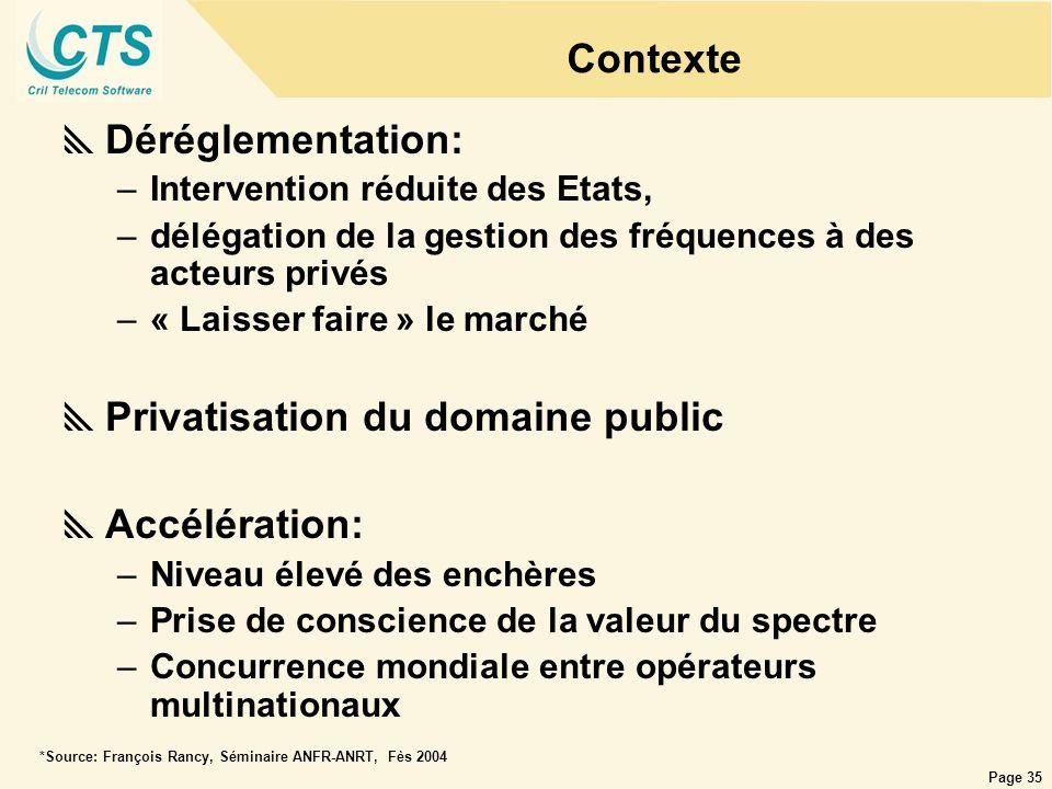 Page 35 Contexte Déréglementation: –Intervention réduite des Etats, –délégation de la gestion des fréquences à des acteurs privés –« Laisser faire » l