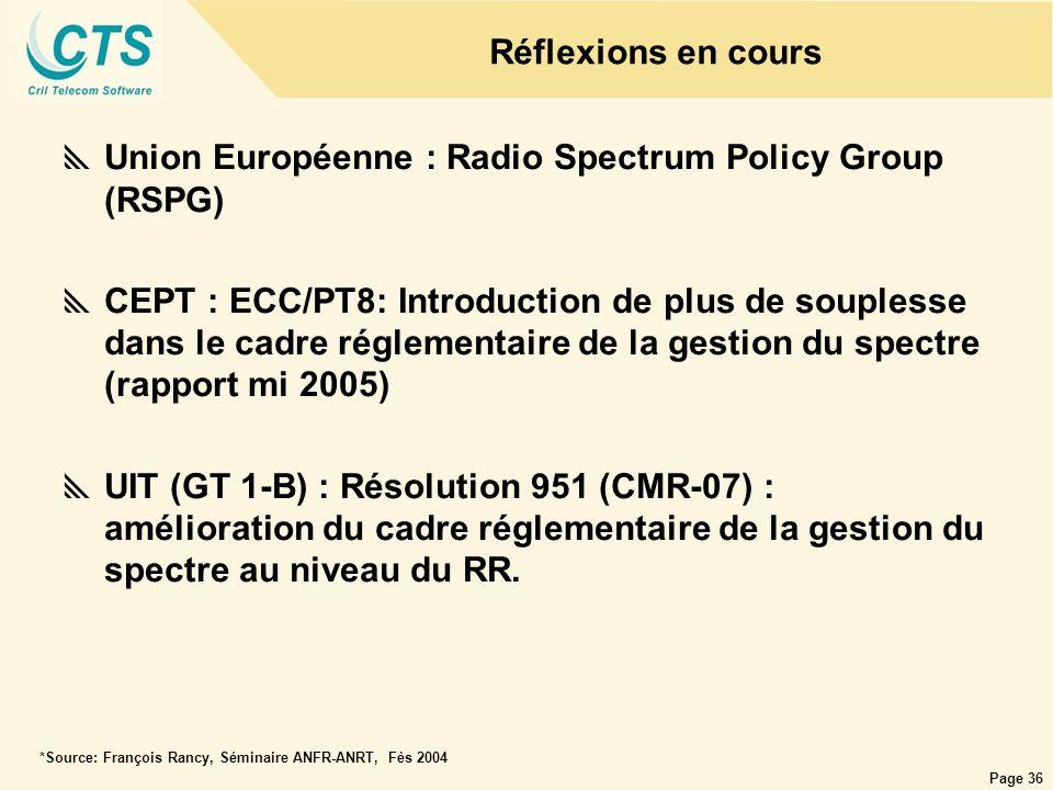Page 36 Réflexions en cours Union Européenne : Radio Spectrum Policy Group (RSPG) CEPT : ECC/PT8: Introduction de plus de souplesse dans le cadre régl
