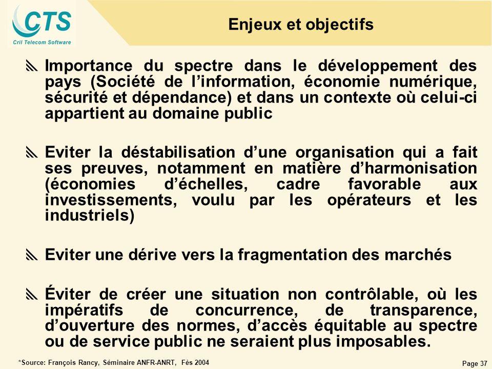 Page 37 Enjeux et objectifs Importance du spectre dans le développement des pays (Société de linformation, économie numérique, sécurité et dépendance)