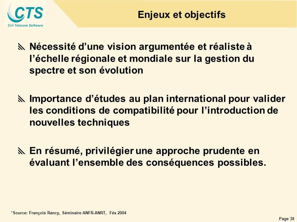 Page 38 Nécessité dune vision argumentée et réaliste à léchelle régionale et mondiale sur la gestion du spectre et son évolution Importance détudes au
