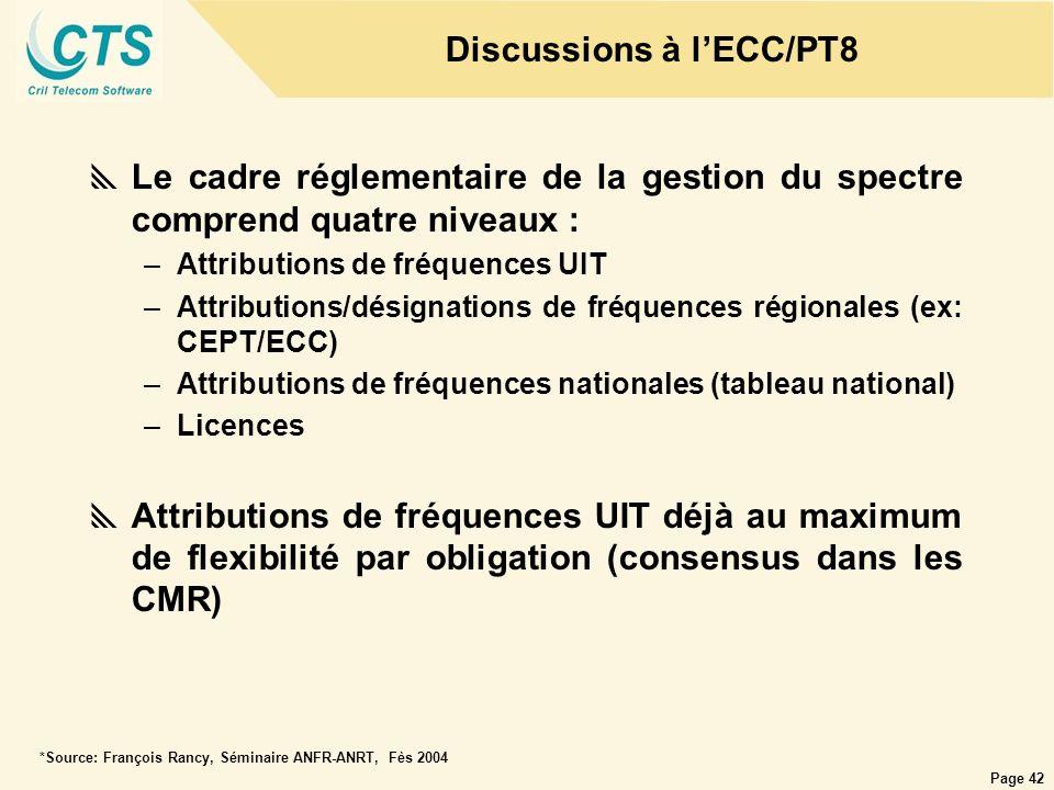 Page 42 Le cadre réglementaire de la gestion du spectre comprend quatre niveaux : –Attributions de fréquences UIT –Attributions/désignations de fréque