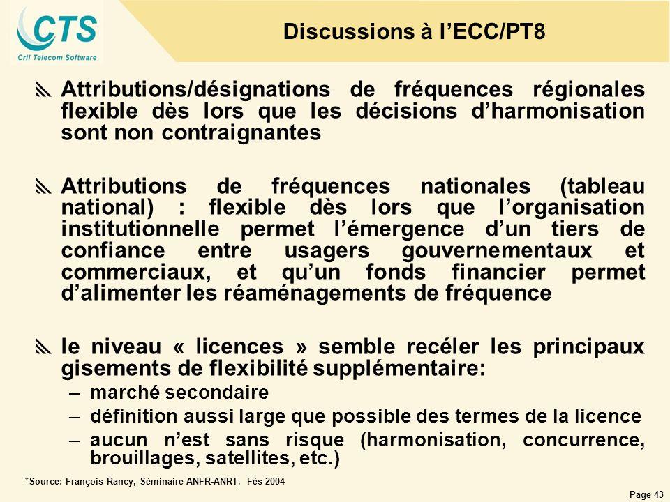 Page 43 Attributions/désignations de fréquences régionales flexible dès lors que les décisions dharmonisation sont non contraignantes Attributions de
