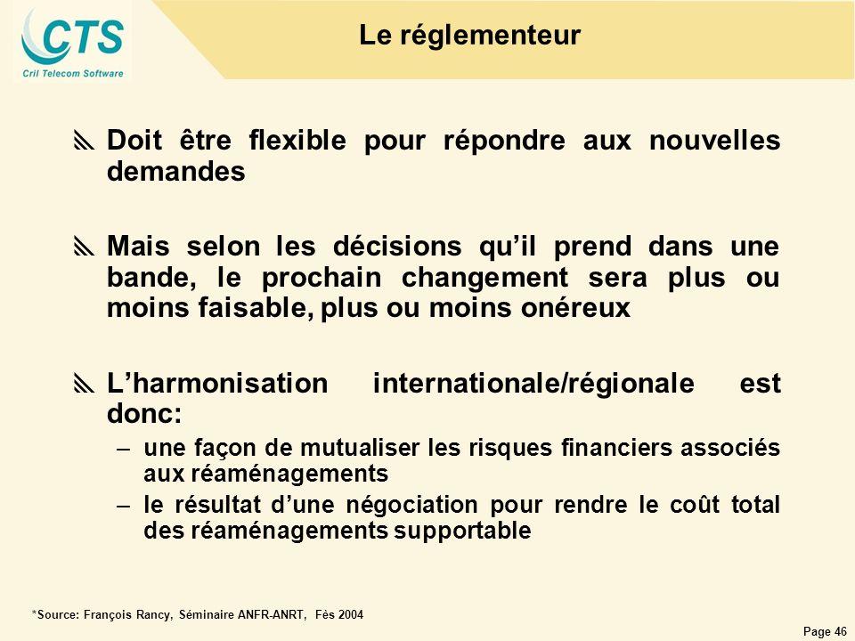 Page 46 Le réglementeur Doit être flexible pour répondre aux nouvelles demandes Mais selon les décisions quil prend dans une bande, le prochain change