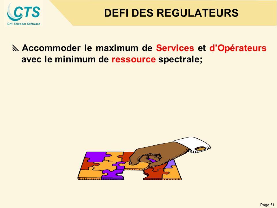 Page 51 DEFI DES REGULATEURS Accommoder le maximum de Services et dOpérateurs avec le minimum de ressource spectrale;