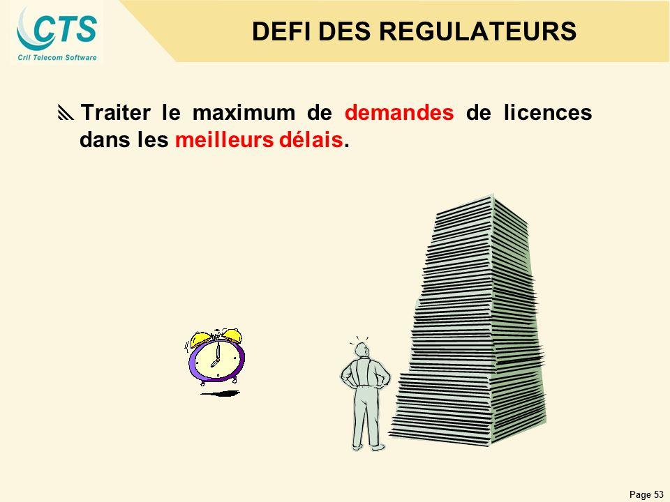 Page 53 DEFI DES REGULATEURS Traiter le maximum de demandes de licences dans les meilleurs délais.