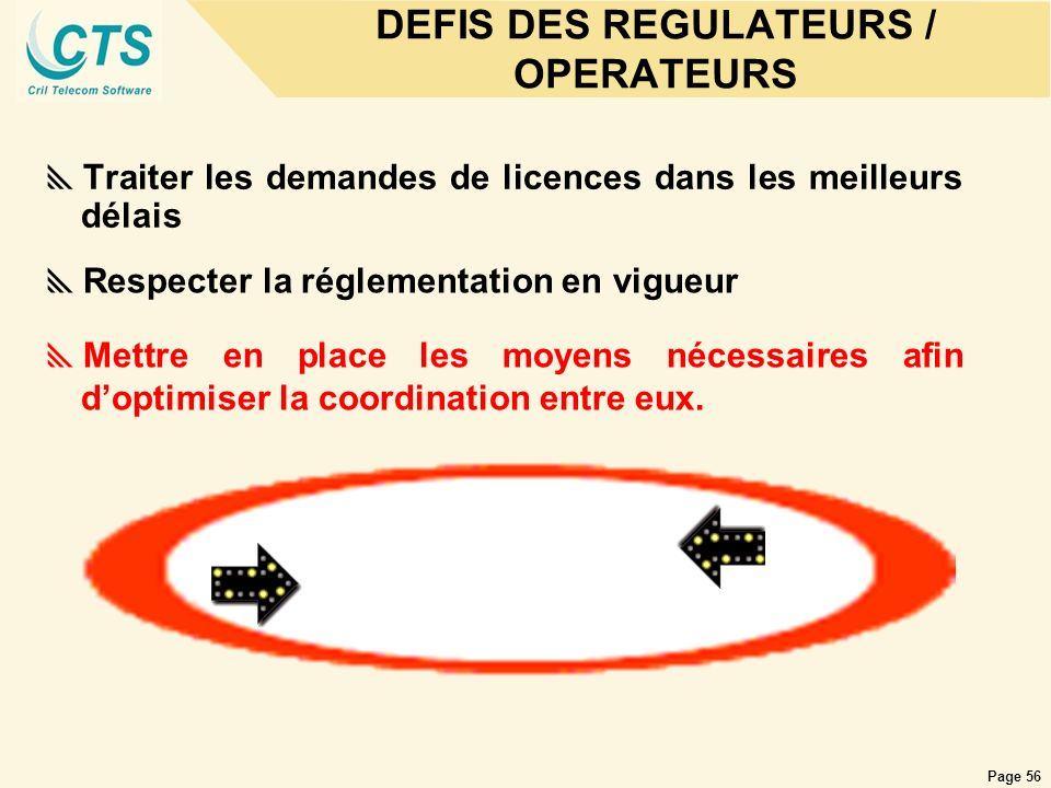 Page 56 DEFIS DES REGULATEURS / OPERATEURS Traiter les demandes de licences dans les meilleurs délais Respecter la réglementation en vigueur Mettre en