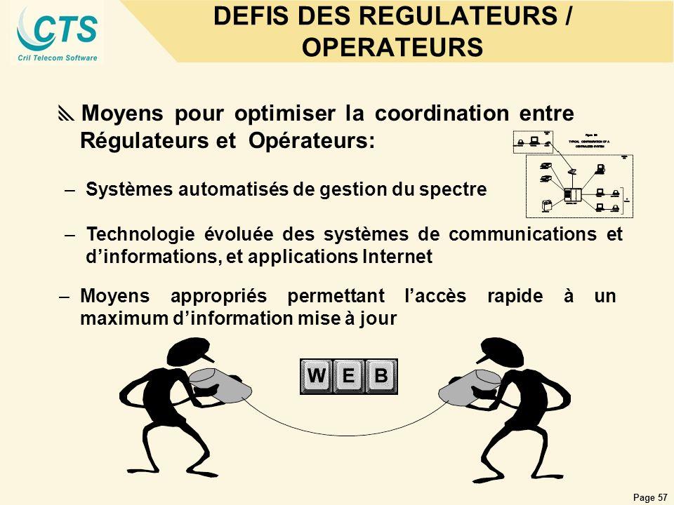 Page 57 DEFIS DES REGULATEURS / OPERATEURS Moyens pour optimiser la coordination entre Régulateurs et Opérateurs: –Systèmes automatisés de gestion du
