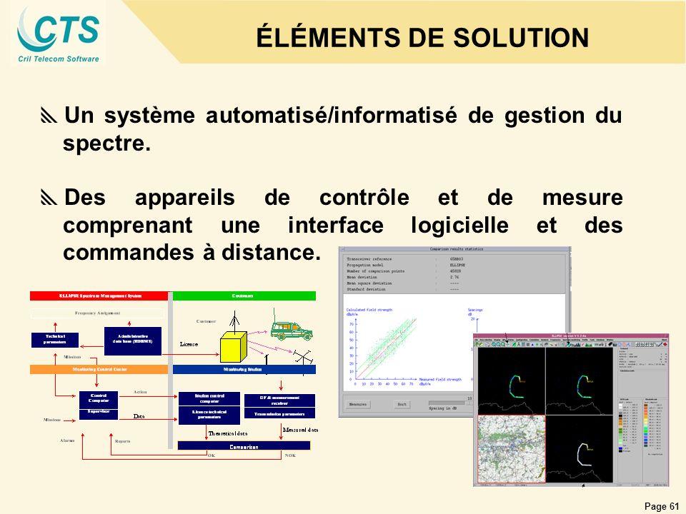 Page 61 ÉLÉMENTS DE SOLUTION Un système automatisé/informatisé de gestion du spectre. Des appareils de contrôle et de mesure comprenant une interface