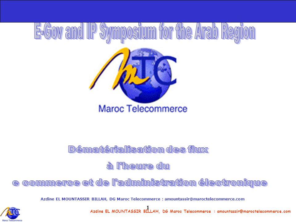Azdine EL MOUNTASSIR BILLAH, DG Maroc Telecommerce : amountassir@maroctelecommerce.com 12 En partenariat avec Présentent le projet e-Justice Système dInformation pour la consultation en ligne du registre de commerce http://ejustice.gov.ma