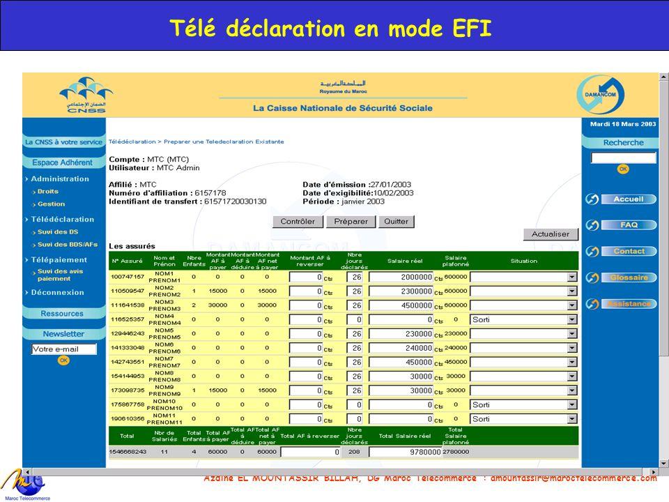 Azdine EL MOUNTASSIR BILLAH, DG Maroc Telecommerce : amountassir@maroctelecommerce.com 22 Télé déclaration en mode EFI