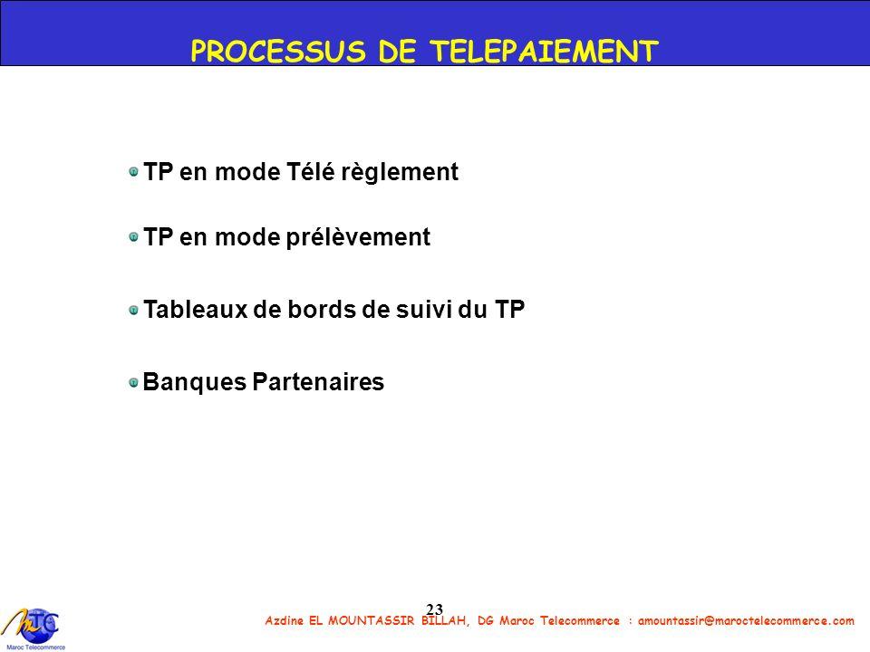 Azdine EL MOUNTASSIR BILLAH, DG Maroc Telecommerce : amountassir@maroctelecommerce.com 23 TP en mode Télé règlement TP en mode prélèvement Tableaux de