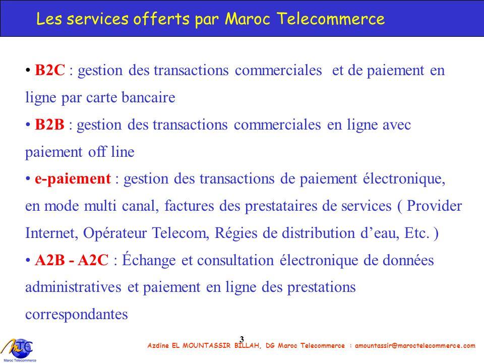 Azdine EL MOUNTASSIR BILLAH, DG Maroc Telecommerce : amountassir@maroctelecommerce.com 3 Les services offerts par Maroc Telecommerce B2C : gestion des