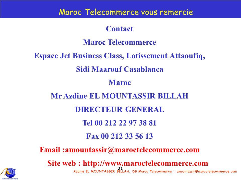 Azdine EL MOUNTASSIR BILLAH, DG Maroc Telecommerce : amountassir@maroctelecommerce.com 31 Maroc Telecommerce vous remercie Contact Maroc Telecommerce