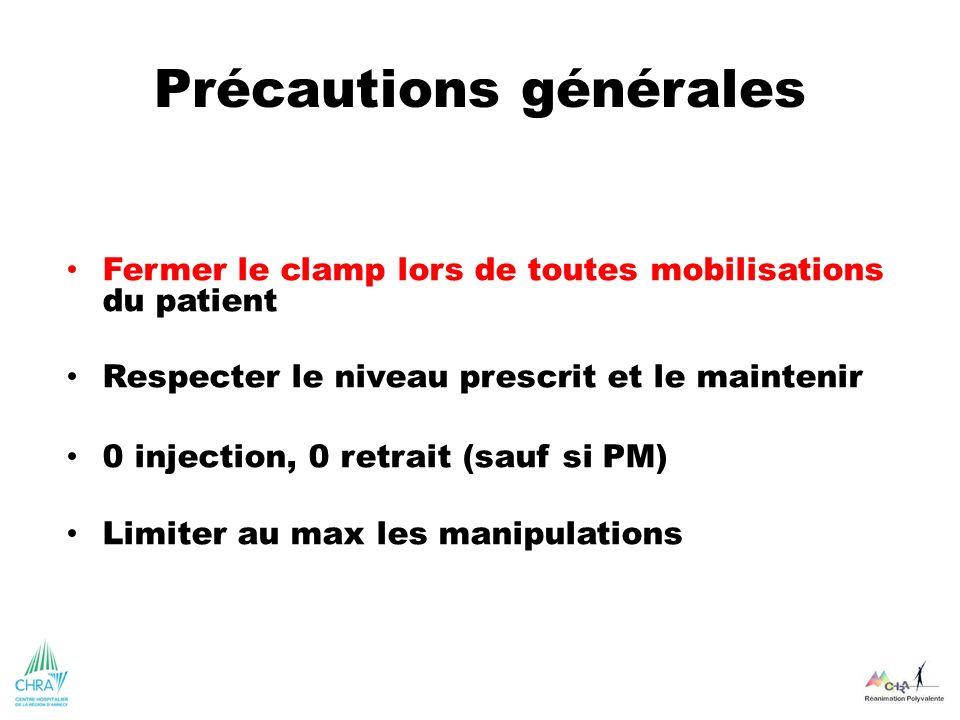 Précautions générales Fermer le clamp lors de toutes mobilisations du patient Respecter le niveau prescrit et le maintenir 0 injection, 0 retrait (sau