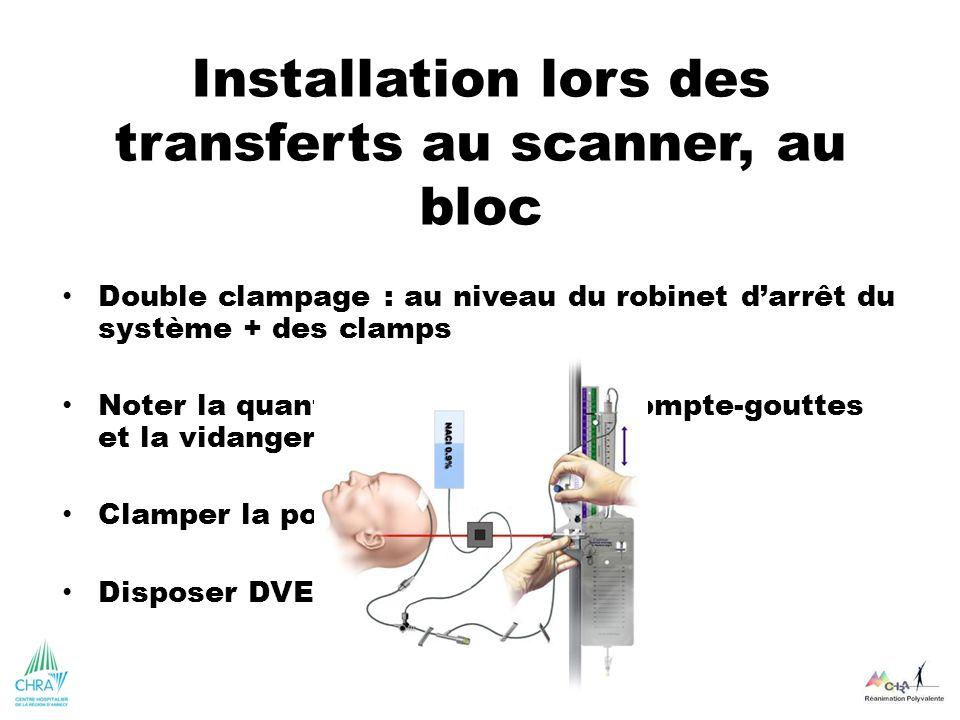 Installation lors des transferts au scanner, au bloc Double clampage : au niveau du robinet darrêt du système + des clamps Noter la quantité dans cham