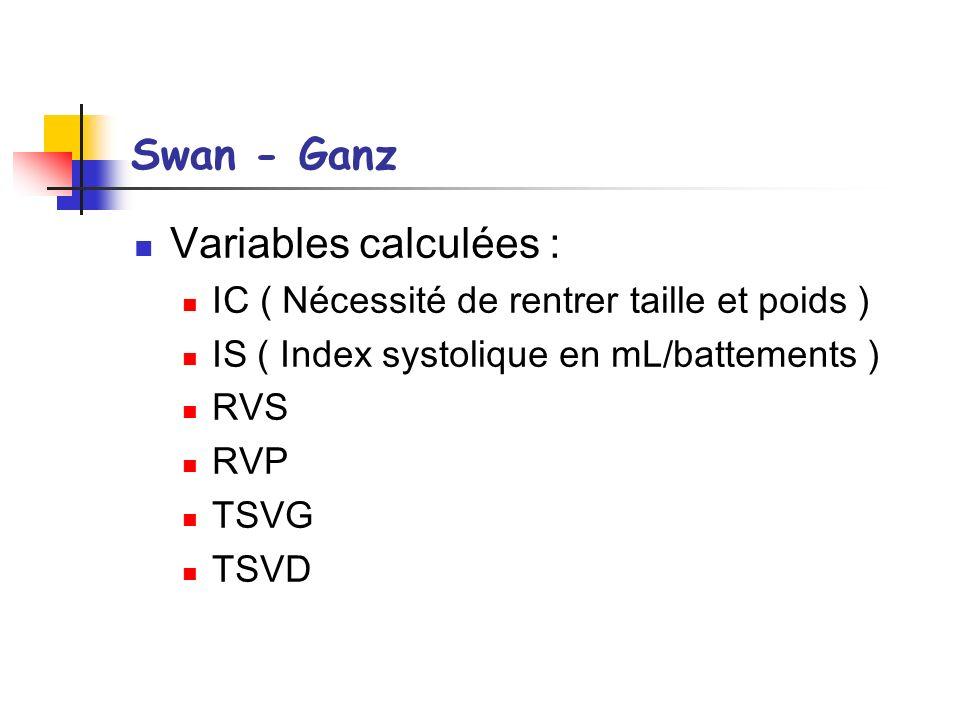 Swan - Ganz Variables calculées : IC ( Nécessité de rentrer taille et poids ) IS ( Index systolique en mL/battements ) RVS RVP TSVG TSVD