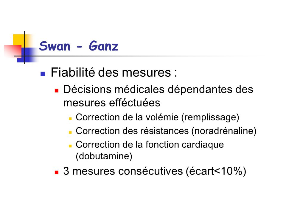 Swan - Ganz Fiabilité des mesures : Décisions médicales dépendantes des mesures efféctuées Correction de la volémie (remplissage) Correction des résis
