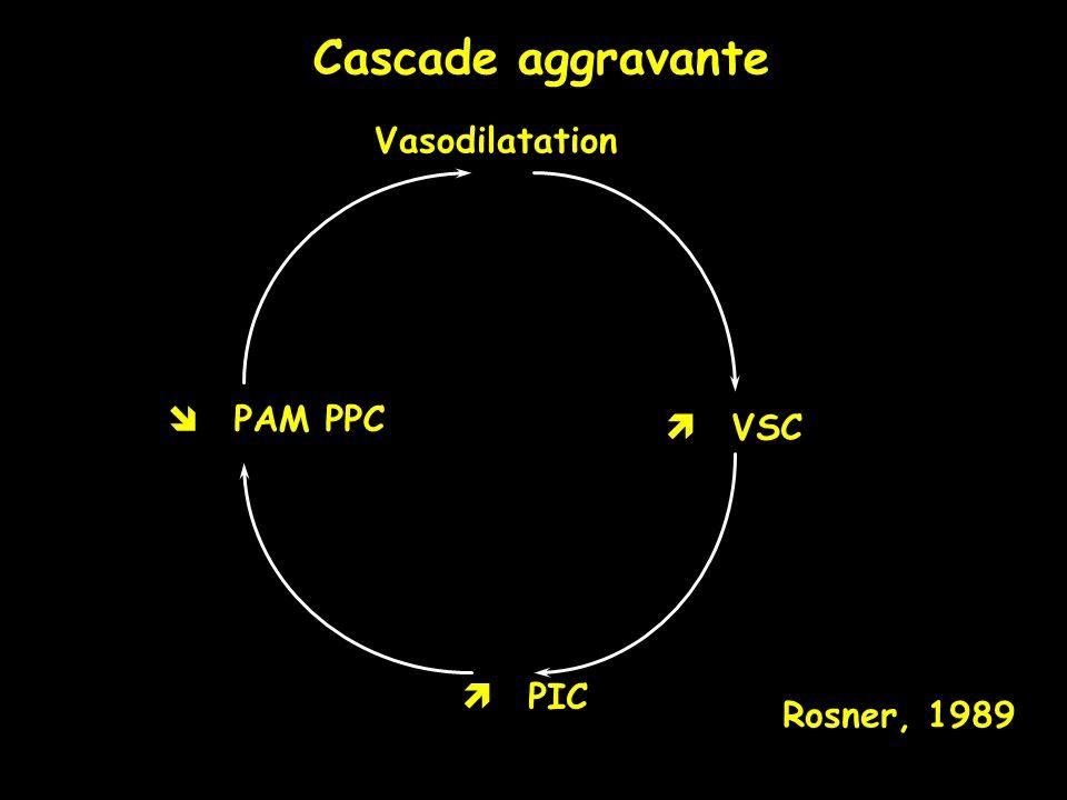 Cascade aggravante Rosner, 1989 Vasodilatation PIC VSC PAM PPC