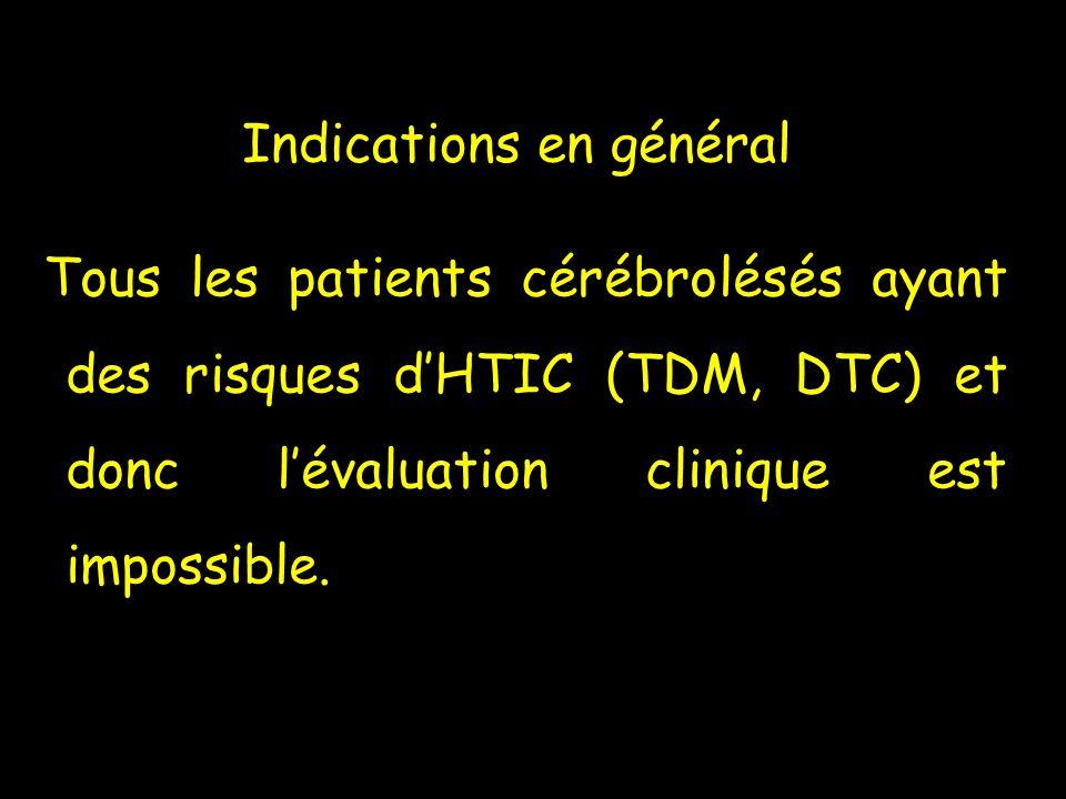Tous les patients cérébrolésés ayant des risques dHTIC (TDM, DTC) et donc lévaluation clinique est impossible. Indications en général