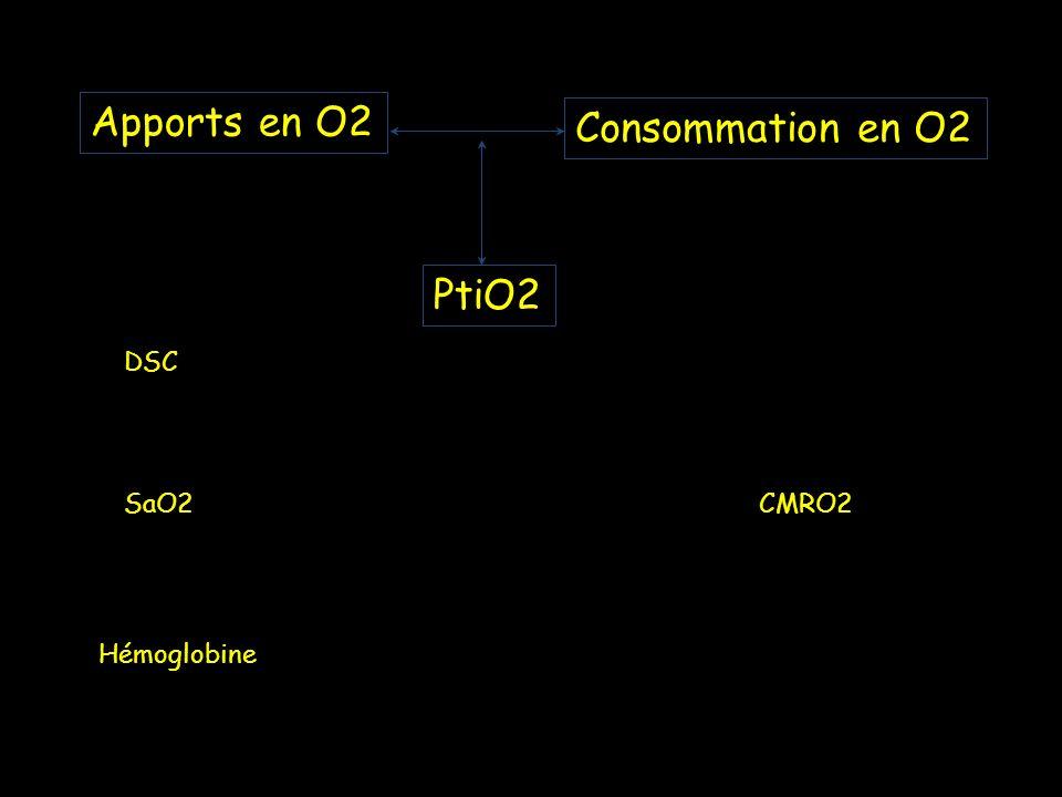 PtiO2 DSC SaO2CMRO2 Hémoglobine Apports en O2 Consommation en O2