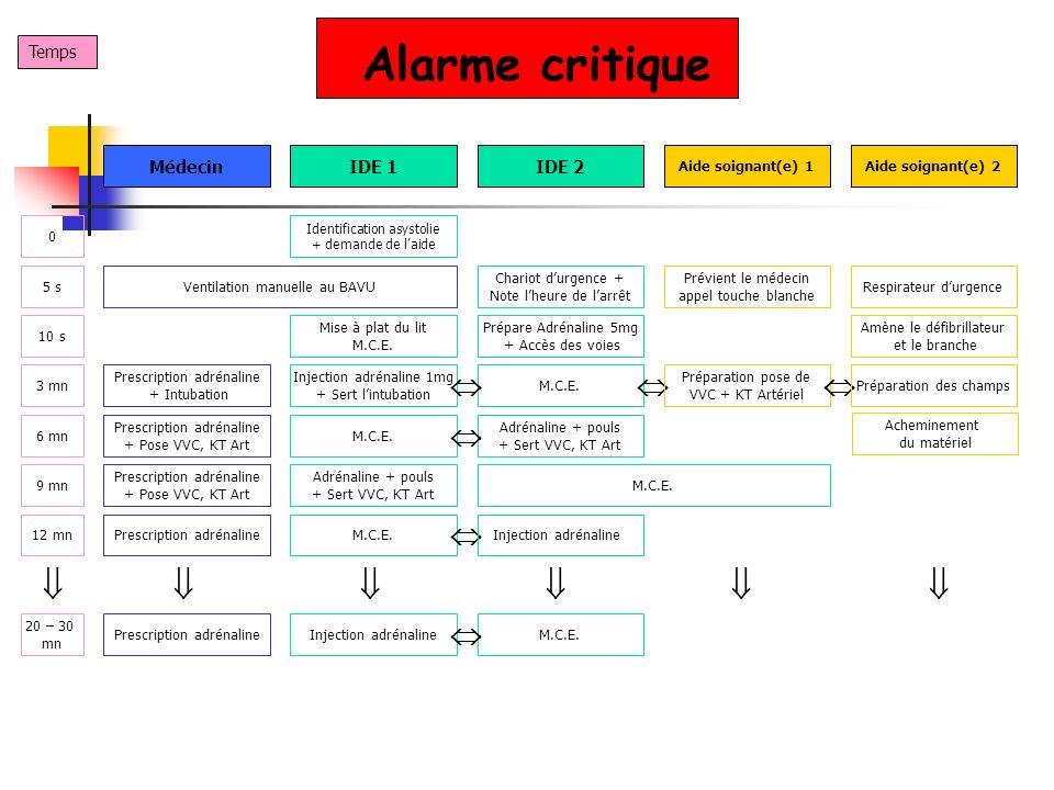 Alarme critique Temps IDE 1IDE 2Médecin Identification asystolie + demande de laide 5 s 0 Chariot durgence + Note lheure de larrêt Prévient le médecin