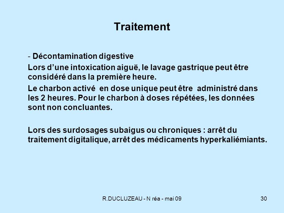 R.DUCLUZEAU - N réa - mai 0931 Eléments du traitement Le traitement des dyskaliémies Lhypokaliémie peut accentuer la toxicité des digitaliques dans les situations chroniques et subaiguës, il convient de la corriger.