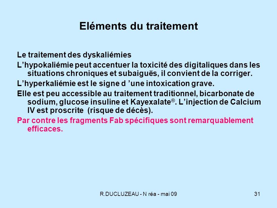 R.DUCLUZEAU - N réa - mai 0932 Eléments du traitement - Le traitement de la bradycardie Atropine Latropine IV 0,5 à 1 mg ou 0,02 mg/kg chez lenfant, agit sur la composante vagale.