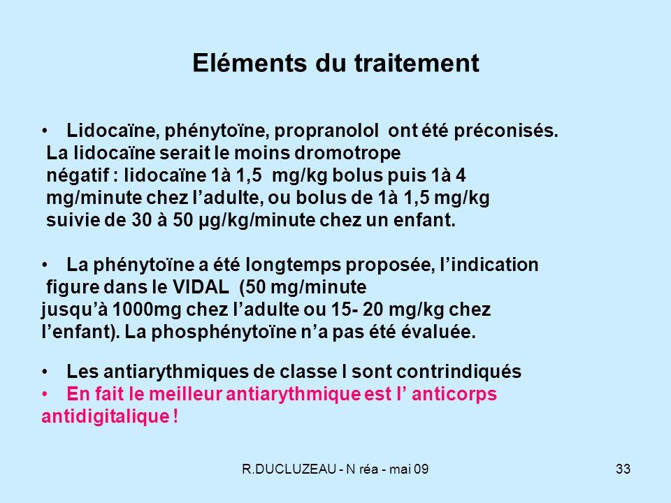 R.DUCLUZEAU - N réa - mai 0934 Eléments du traitement Le magnésium Lefficacité du sulfate de magnésium intraveineux dans le traitement des arythmies ventriculaire dues aux digitaliques a été notée.