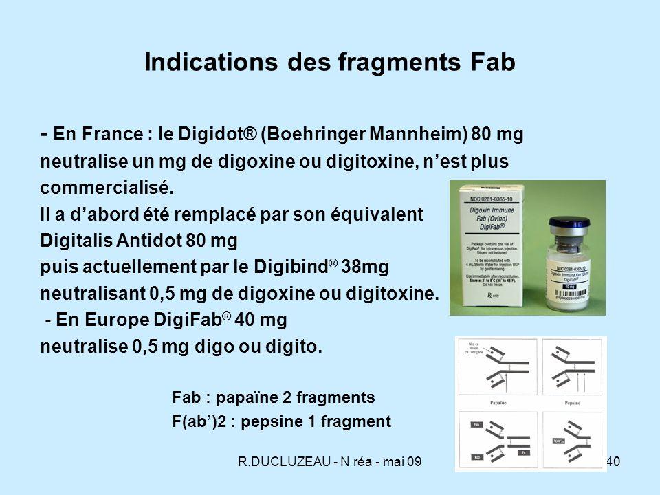 R.DUCLUZEAU - N réa - mai 0941 Traitement par Fab - Critères de gravité mettant en jeu le pronostic vital Dysrythmies ventriculaires : tachycardie ou fibrillation ventriculaire Fréquence cardiaque < 40/min après injection datropine 1mg IV Asystolie Choc cardiogénique Infarctus mésentérique K > 5 mmol/l (ou 5,5 mmol/l) 1 seul critère - Dose curative : neutralisation équimolaire = quantité de digoxine