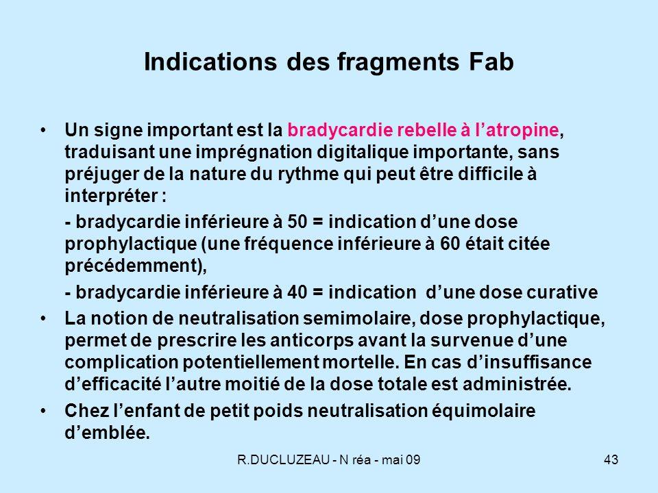 R.DUCLUZEAU - N réa - mai 0944 Calcul de la posologie du Digibind ® Selon la quantité de digitalique présente dans lorganisme : - digoxine : dose supposée ingérée (DSI) X 0,8 (0,8 = biodisponibilité de la digoxine - 0,6 est aussi cité - digitoxine = DSI Selon le taux sanguin : digoxinémie (ng/ml) X poids (kg) X 5,6 (Vd digoxine) / 1000 digitoxinémie (ng/ml) X poids (kg) X 0,56 (Vd digitoxine) /1000 Un flacon de Digibind® 38mg neutralise 0,5 mg de digoxine ou digitoxine