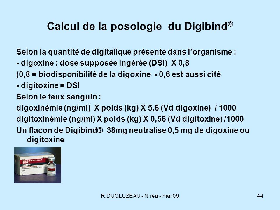R.DUCLUZEAU - N réa - mai 0945 Administration du Digibind ® - En labsence de DSI ou de taux la dose empirique est de 20 flacons de Digibind® (en 2 fois éventuellement).