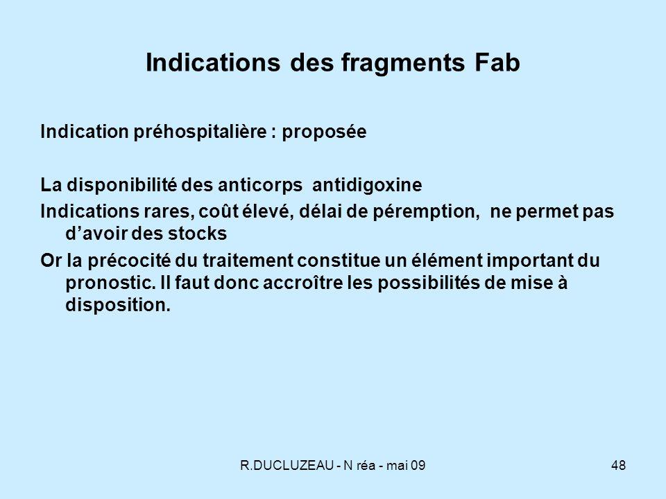 R.DUCLUZEAU - N réa - mai 0949 Dosage des digitaliques après Fab Le dosage de la fraction libre (active) après immunothérapie est difficile: très faibles concentrations de digoxine libre par rapport aux concentrations très élevées de digoxine totale, liée aux fragments Fab.