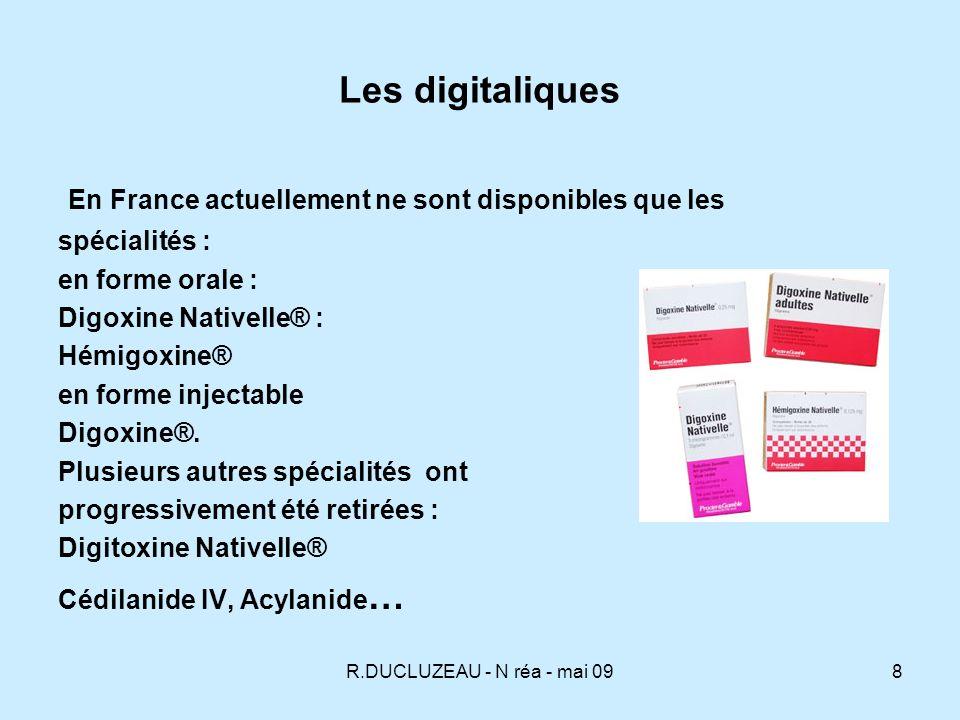 R.DUCLUZEAU - N réa - mai 099 Pharmacocinétique Après prise orale, absorption au niveau du duodénum et du jéjunum : la digitoxine est absorbée en totalité en 2 à 3 heures.