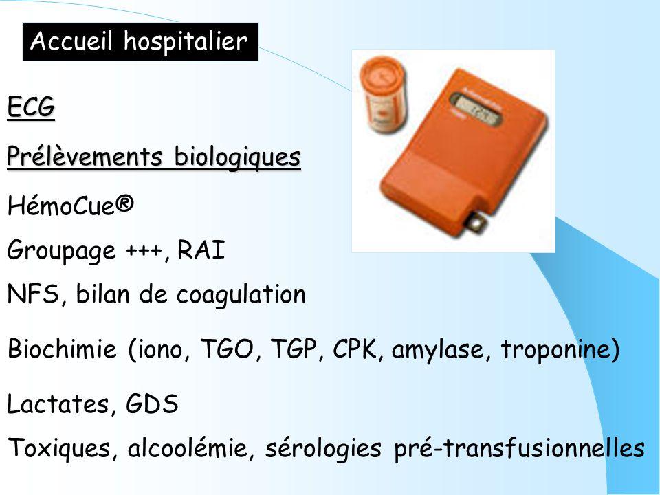 Accueil hospitalier ECG Prélèvements biologiques HémoCue® Groupage +++, RAI NFS, bilan de coagulation Biochimie (iono, TGO, TGP, CPK, amylase, troponi