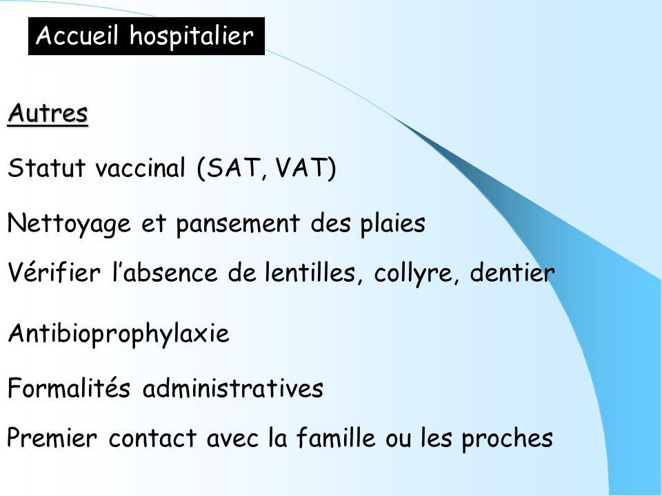 Accueil hospitalier Autres Statut vaccinal (SAT, VAT) Nettoyage et pansement des plaies Vérifier labsence de lentilles, collyre, dentier Antibioprophy