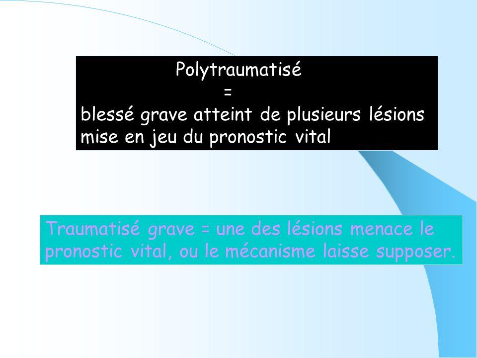 Polytraumatisé = blessé grave atteint de plusieurs lésions mise en jeu du pronostic vital Traumatisé grave = une des lésions menace le pronostic vital
