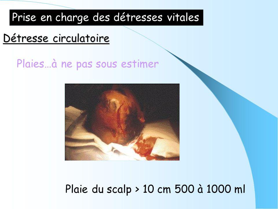 Prise en charge des détresses vitales Détresse circulatoire Plaies…à ne pas sous estimer Plaie du scalp > 10 cm 500 à 1000 ml