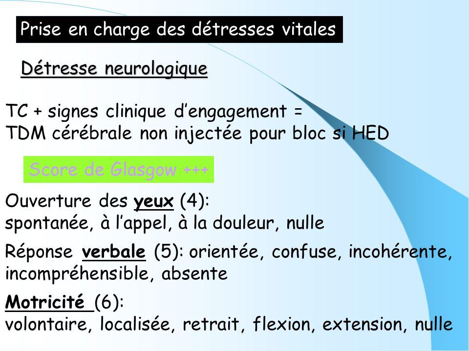 Prise en charge des détresses vitales Détresse neurologique TC + signes clinique dengagement = TDM cérébrale non injectée pour bloc si HED Score de Gl