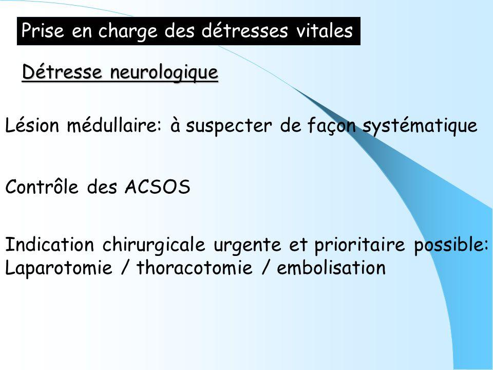 Prise en charge des détresses vitales Détresse neurologique Lésion médullaire: à suspecter de façon systématique Contrôle des ACSOS Indication chirurg
