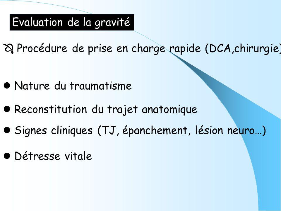 Evaluation de la gravité Procédure de prise en charge rapide (DCA,chirurgie) Nature du traumatisme Reconstitution du trajet anatomique Signes clinique