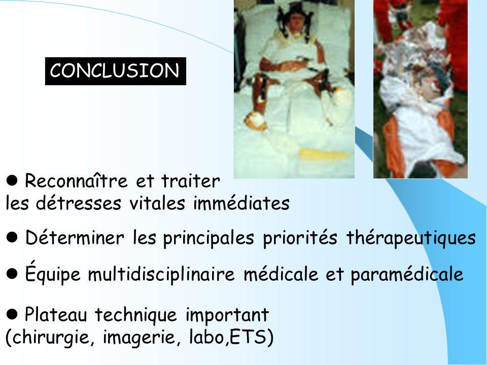 CONCLUSION Déterminer les principales priorités thérapeutiques Équipe multidisciplinaire médicale et paramédicale Reconnaître et traiter les détresses