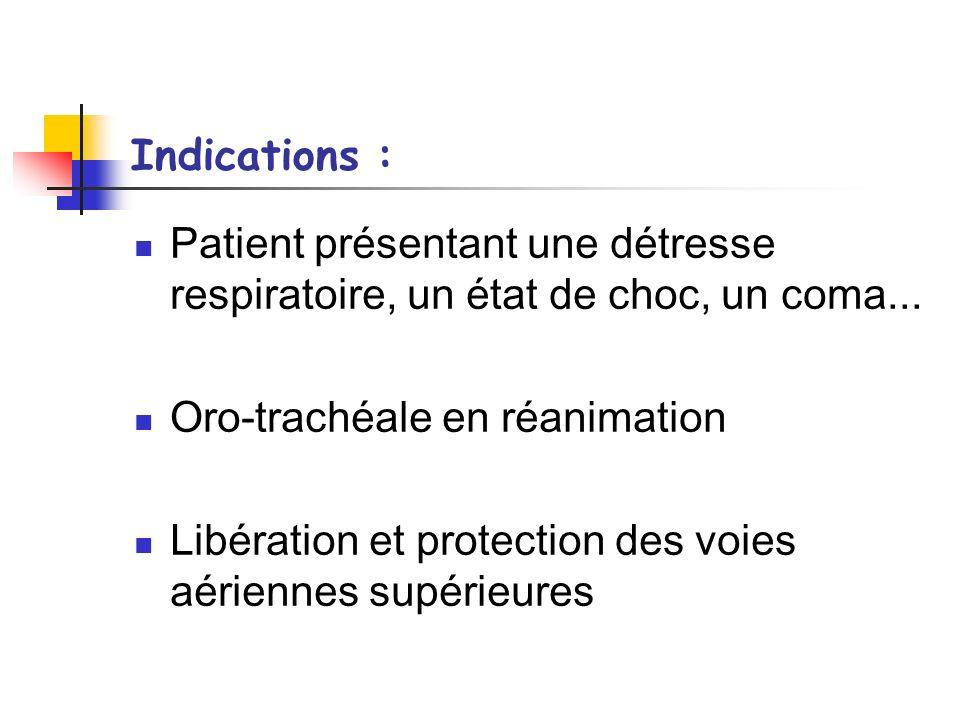 Déroulement : Le rôle IDE est dassister le médecin lors de lintubation Entourage du patient Servir le matériel Veiller sur les constantes du patient
