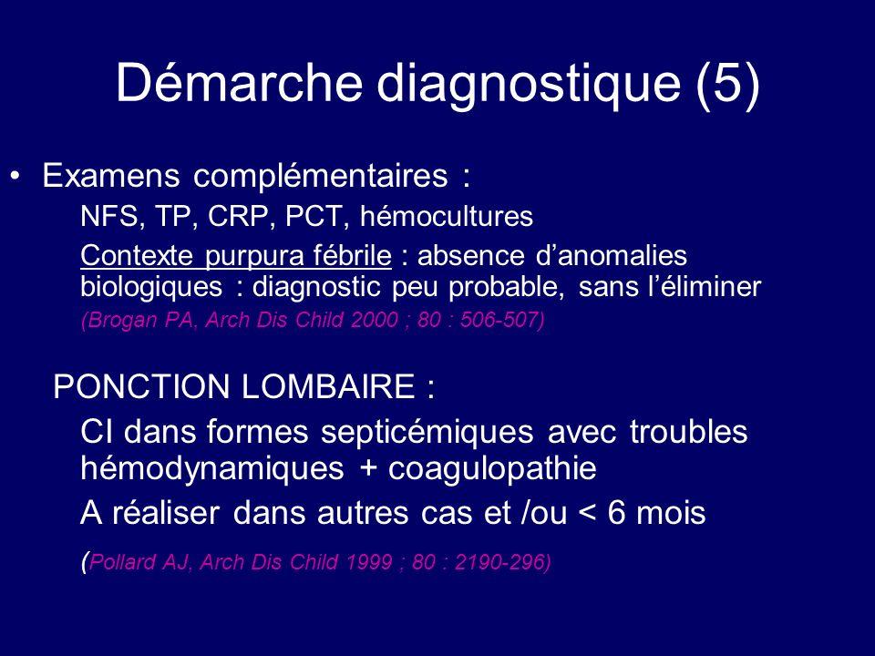 Démarche diagnostique (5) Examens complémentaires : NFS, TP, CRP, PCT, hémocultures Contexte purpura fébrile : absence danomalies biologiques : diagno