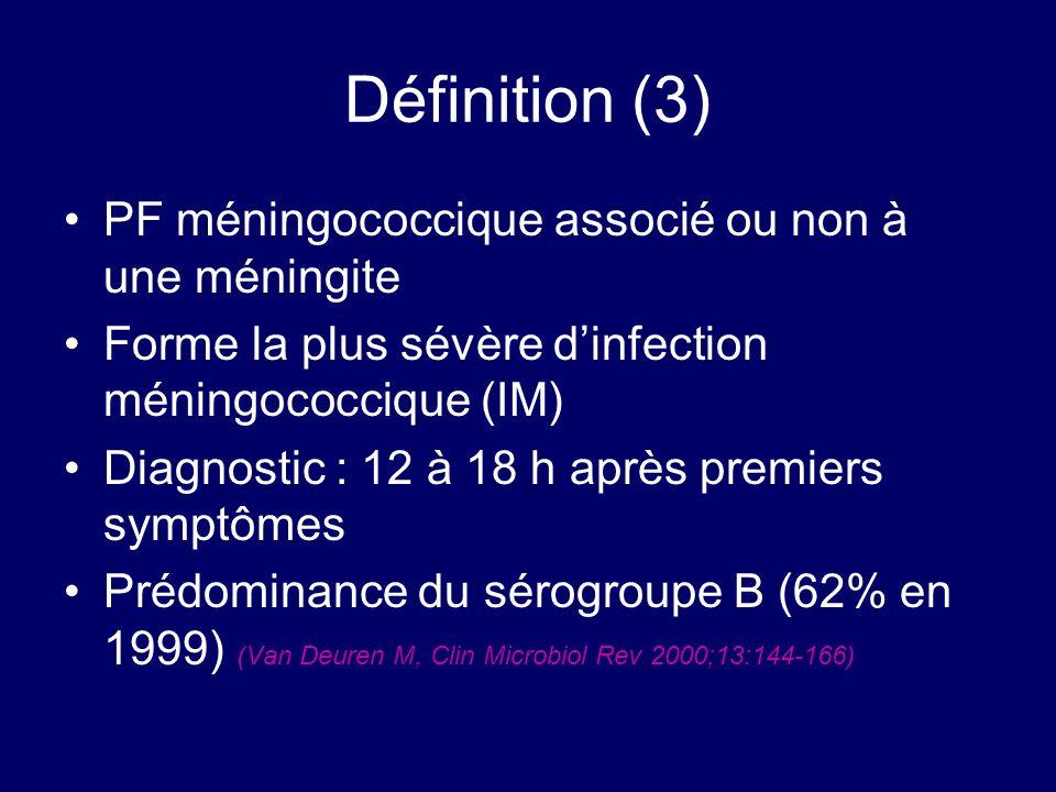 Définition (3) PF méningococcique associé ou non à une méningite Forme la plus sévère dinfection méningococcique (IM) Diagnostic : 12 à 18 h après pre